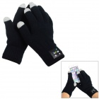 Call-receiving Bluetooth Magic Touch Screen Warm Full-Finger Gloves for Women - Black (Pair)