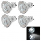 GU10 3W COB LED-Lampen White Light 6000K 220lm - Silvery White (AC 220 ~ 240V / 4 PCS)