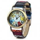 Women's Retro Style Nylon Band Analog Quartz Wrist Watch - White + Black + Multi-Color (1 x 377)