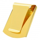 Portable Smart Double-sided Gold-plated Stainless Steel Money Clip Holder - Golden