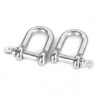 316 Stainless Steel U Shaped Shackle Carabiner for Parachute Cord Bracelet - Silver (S / 2PCS)