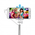 Mini Smile Retractable Selfie Monopod w/ 3.5mm Cable, Mirror - Blue
