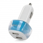 ES-01 5V / 3.1A Dual USB Car Charger Power Adapter - White + Sky Blue