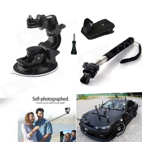 Suction Cup Mount�� Telescopic Pole�� 360' Rotary Backpack for GoPro