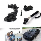 Suction Cup Mount + Telescopic Handheld Pole + 360' Rotary Backpack for GoPro Hero 4 / 3+ / 3 / 2