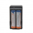 3.7V 1800mAh Rechargeable Li- ion 18650 Batteries + US Plug 2-Slot Battery Charger - Black