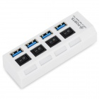 High Speed 5Gbps USB 3.0 4-Port HUB w/ Indicator / Switches - White