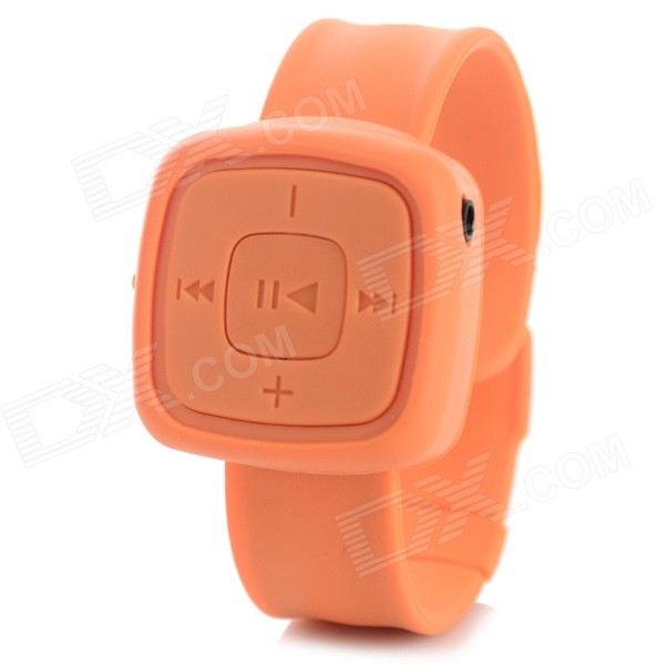 Mini Wrist Watch Style MP3 Music Player w/ TF Card Slot - OrangeMP3 Players<br>Form  ColorOrangeBuilt-in Memory / RAMNoQuantity1 DX.PCM.Model.AttributeModel.UnitMaterialPlastic + SiliconeShade Of ColorOrangeScreen TypeOthers,NoTouch Screen TypeNoMemory Card TypeTFMax Extended Capacity32GBAudio Compression FormatMP3VideoNoE-bookNOHeadphone Jack3.5mmBattery Capacity90 DX.PCM.Model.AttributeModel.UnitWorking Time3~4 DX.PCM.Model.AttributeModel.UnitBattery TypeLi-ion batteryLoud Speaker Function NoLyrics DisplayNoAudio ModeNaturalPacking List1 x MP3 player1 x Earphone (60cm)1 x USB cable (40cm)<br>