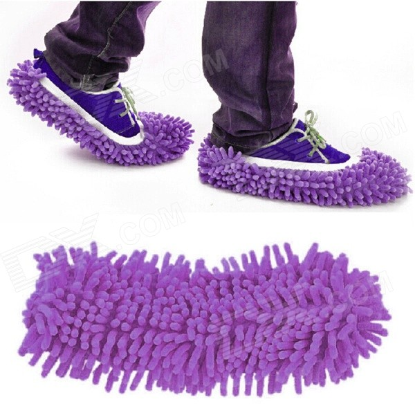 Dust Cleaner Cleaning Mop Cleaner Slipper Shoes Covers - Purple (Pair)