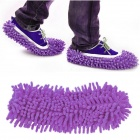House Bathroom Floor Dust Cleaning Shoe Cover Mop Cleaner - Purple (Pair)
