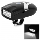 Multi-functional 3-LED White Bicycle Front Lamp + Bell Kit - Black