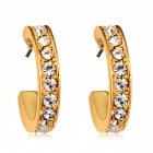 Women's Creative C Shaped Crystal Inlaid Alloy Earrings - Golden (Pair)