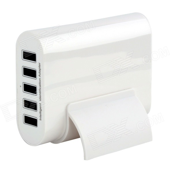 5-USB EU plugue carregador inteligente w / stand para iphone, Samsung - branco