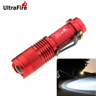 UltraFire XP-E R5 1-LED 400lm 3-Mode Cool White Light Zooming Flashlight w/ Clip - Red (1 x 14500)