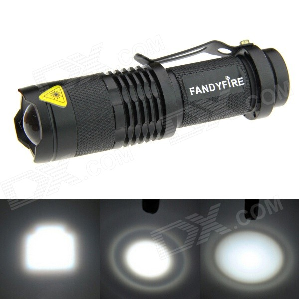 FANDYFIRE White LED 1-Mode Zooming Flashlight - Black (1 * AA / 14500)