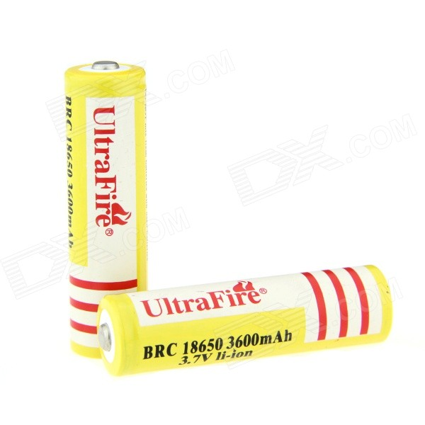 UltraFire 3.7V 18650 1400mAh Lithium ion Rechargeable Batteries - Yellow (2 PCS)