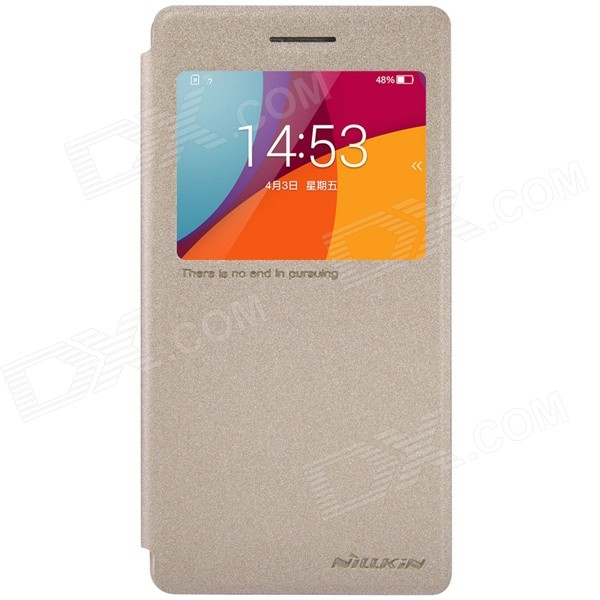 NILLKIN PU flip open case w / visningsvinduet for OPPO R1C / R1X - golden