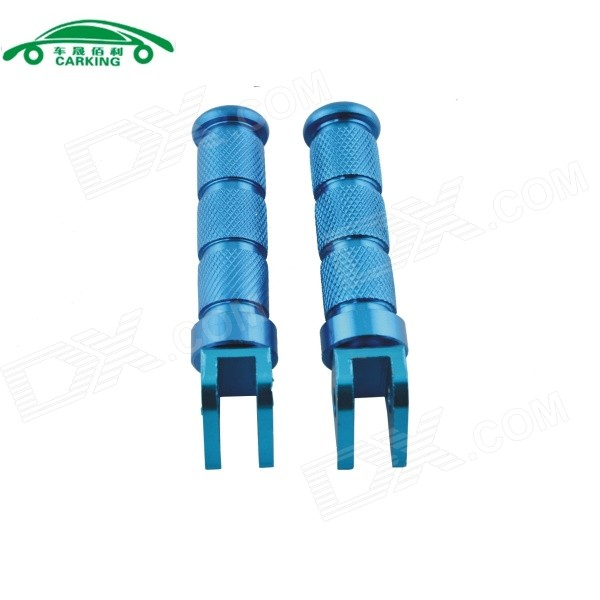 CARKING Universal Aluminum Motorcycle Rear Back Pedals - Blue (2PCS)
