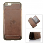 MO.MAT Protective TPU + Leather Wallet Style Case w/ Stand for IPHONE 6 - Deep Brown