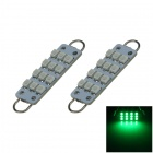 Rigid Loop Bulbs 1W 80lm Green 44mm 211-2 578 12-SMD LED Door Reading Lights ( 2 PCS / DC 12V )