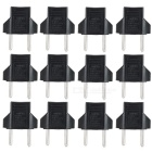 6A Convenient EU Plug to US Socket Power Adapters - Black + Silver (12PCS)
