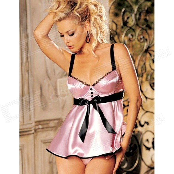 European and American Style Strap Smooth Sexy Lingerie - Pink + Black