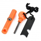 Survival Fire Starter Flintstone w/ Whistle + Compass - Orange + Black