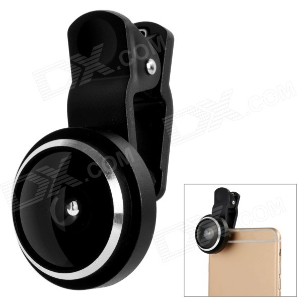 235' 0.4X Fish Eye Clip-On Lens for Samsung Xiaomi HTC - Black