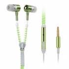 Stylish Zipper-Cable Design Glow-in-the-Dark In-Ear Earphones for IPHONE - Fluorescent Green + White