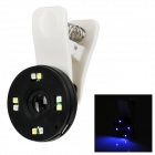 Universal Rechargeable Clip-On 68X Microscope Lens w/ 4-LED Purple + 4-LED White Light - Black