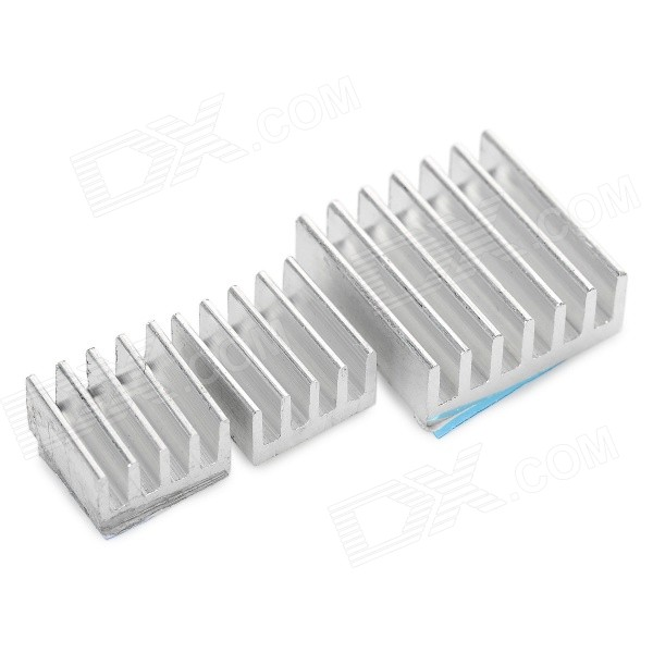 3-in-1 Aluminum Heat Dissipation Cooling Heat Sinks - SilverDIY Parts &amp; Components<br>Quantity1 DX.PCM.Model.AttributeModel.UnitForm ColorSilverMaterialAluminumEnglish Manual / SpecNoOther FeaturesDimension: 1.4 x 1.4 x 0.5cm / 0.9 x 0.9 x 0.5cm.CertificationNoPacking List3 x Heat sinks<br>