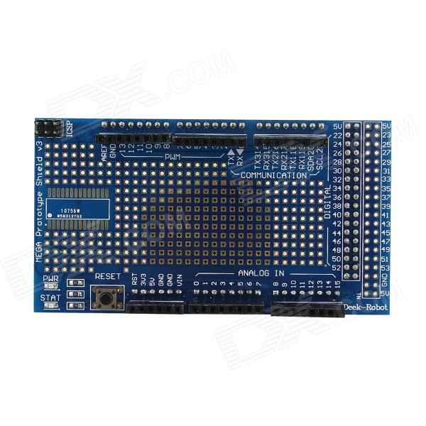 MEGA2560/1280 Proto Shield + Bread Board for Arduino - BlueBoards &amp; Shields<br>Form ColorSapphire BlueModelN/AQuantity1 DX.PCM.Model.AttributeModel.UnitMaterialPCBEnglish Manual / SpecYesDownload Link   http://pan.baidu.com/s/1gdAeBo3Packing List1 x MEGA2560/1280 Expansion Board 1 x Bread Board<br>