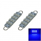 Rigid Loop Bulbs 1W 80LM Blue 44mm 12-SMD 3528 LED Door Reading Lights (DC 12V / 2PCS)