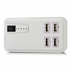 ES-D02 4-Port USB Charger w/ Indicator / Switch - White (US Plug)