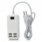 15W 5V 3A 4-Port USB 2.0 Hub - White (US Plug)