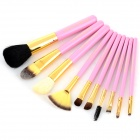 MAKE-UP FOR YOU 10-in-1 Cosmetic Makeup Brush Tools Set w/ Carrying Bag - Pink