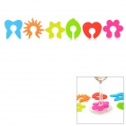 6-in-1 Silicone Drinking Wine Cup Glass Markers - Orange + Green
