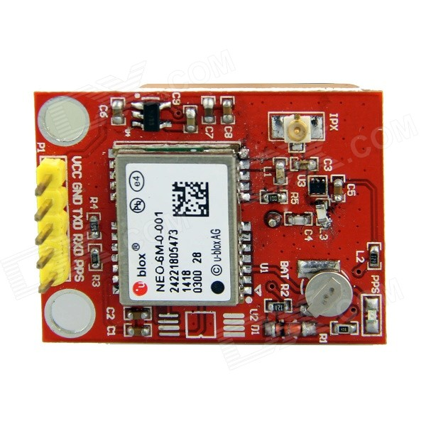 GPS Module w/ Ceramic Passive Antenna for Raspberry Pi / Arduino - Red