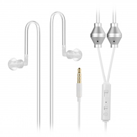 Cwxuan Air Pipe Anti-Radiation Bass In-Ear Earphones w/ Mic. - White
