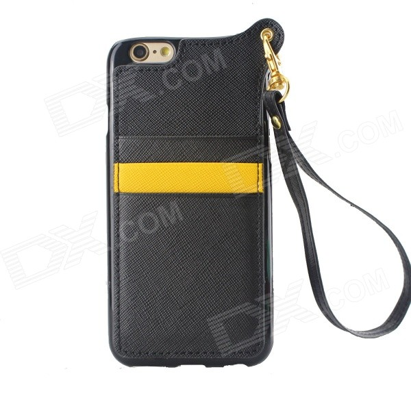 TPU + PU Leather Wallet Case w/ Card Slot / Strap for IPHONE 6 - Black