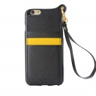 High Quality TPU + PU Leather Wallet Case w/ Card Slot / Strap for IPHONE 6 - Black