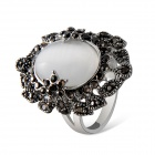 Cat's Eye Style Grey Crystals Inlaid Ring - Silver (US Size 8)