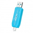 USB 2.0 HUB + OTG TF Card Reader Connection Kit for Samsung Galaxy S3 / S4 / S5 / Note 2 / 3 - Blue