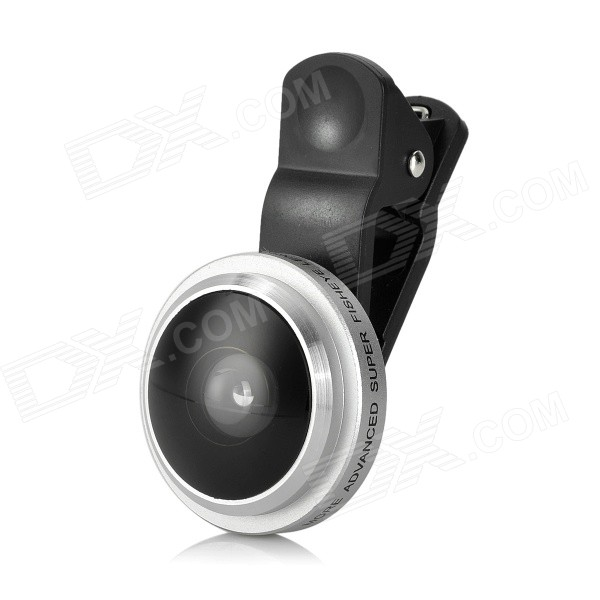 235' 0.4X Fish Eye Clip-On Lens for Samsung Xiaomi HTC - Silver