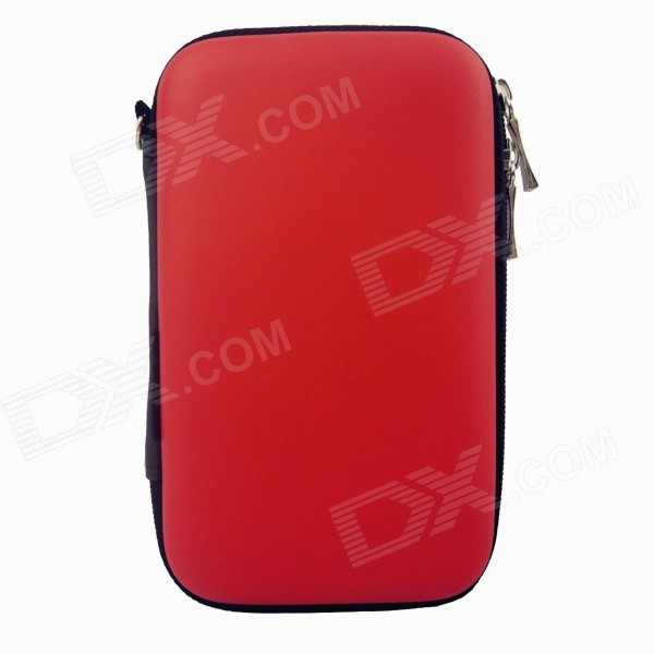 "Hard Shell PU + EVA Pouch for 2.5"" Hard Disk / Power Bank - Red"