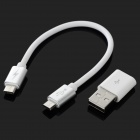 Micro USB M to M Data Charging Cable w/ USB Adapter - White + Silver