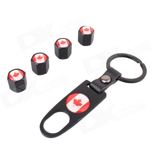 MZ Canada Flag Replacement Alloy Car Tire Valve Cap + Key Ring - Black