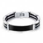 MX-PH936 Men's Contracted Smooth Sequins Stainless Steel + Silicone Bracelet - Black + Silver