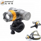 Zhishunjia 688-T6 LED 900lm 360 Degree Rotation 3-Mode White Zooming Bike Light - Grey + Gold