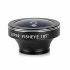 OD-090 Universal 185 Degree Fish-eye Lens + Clip + Lens Cover - Black